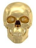 Gouden schedel die op wit wordt geïsoleerd Royalty-vrije Stock Foto's