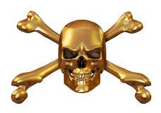 Gouden Schedel en Gekruiste knekels Royalty-vrije Stock Foto