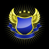 Gouden schild met blauw lint Vector Illustratie