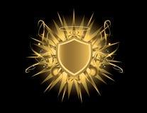 Gouden schild met halo Stock Foto