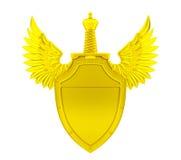 Gouden schild met vleugels en zwaard Stock Afbeeldingen