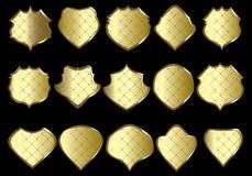 Gouden schilden Stock Afbeelding