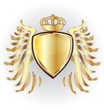 Gouden schildkroon en vleugels royalty-vrije illustratie
