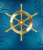 Gouden Schipwiel Royalty-vrije Stock Afbeelding