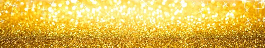 Gouden schitter Achtergrondbanner royalty-vrije stock afbeeldingen