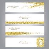 Gouden schitter bannerreeks Klatergoud glanzende achtergronden Luxe gouden malplaatje Vector Stock Fotografie