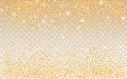 Gouden schitter fonkeling op een transparante achtergrond De gouden Trillende achtergrond met fonkelt lichten Vector illustratie royalty-vrije illustratie
