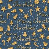 Gouden schitter het naadloze patroon van het Kerstmiselement Stock Fotografie