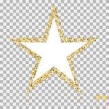 Gouden schitter ster van velen kleine sterren vectorbanner op transpa stock illustratie