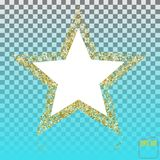 Gouden schitter ster van velen kleine sterren vectorbanner op transpa vector illustratie