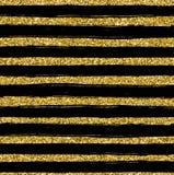 Gouden schitter textuurlijn op zwart naadloos patroon als achtergrond Royalty-vrije Stock Afbeeldingen