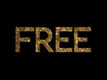 Gouden schitter van geïsoleerd hand het schrijven VRIJ sleutelwoord Royalty-vrije Stock Foto's