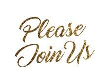 Gouden schitter van geïsoleerde hand schrijvend het woord van de V.S. GELIEVE LID TE WORDEN stock illustratie