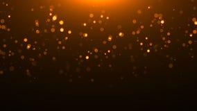 Gouden schitterende cirkels op zwarte, vele deeltjes, feest 3d teruggevende achtergrond, explosie van confettien stock illustratie