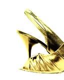 Gouden schoen die op wit wordt geïsoleerds Royalty-vrije Stock Foto's