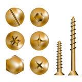 Gouden schroefhoofden Stock Afbeelding