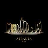 Gouden silhouet van Atlanta op zwarte achtergrond Stock Afbeelding