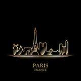 Gouden silhouet van Parijs op zwarte achtergrond Stock Afbeeldingen