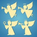 Gouden silhouetten van engelen op blauwe achtergrond stock illustratie