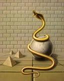 Gouden slang in surreal sferen Royalty-vrije Stock Afbeelding