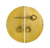 Gouden sleutel in de kabinetsdeur Stock Foto