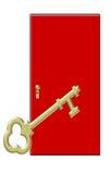 Gouden Sleutel met Rode Deur Stock Foto's
