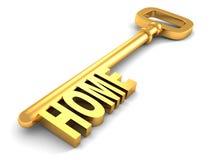 Gouden sleutel met teksthuis Stock Foto's