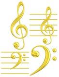 Gouden sleutel muzikaal symbool G & F Royalty-vrije Stock Afbeelding