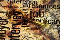 Gouden sleutel op baantekst Stock Afbeeldingen