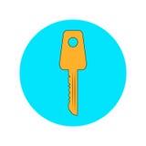 Gouden sleutel op een blauwe achtergrond Stock Foto's