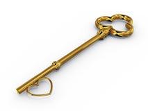 Gouden sleutel tot toegang met hart Stock Afbeeldingen