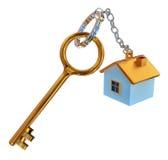 Gouden sleutels van het huis met charme royalty-vrije stock afbeeldingen