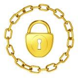Gouden slot met ketting geïsoleerdet veiligheid Royalty-vrije Stock Fotografie