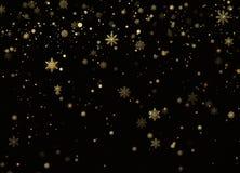 Gouden Sneeuwval De achtergrond van de vakantiedecoratie Nieuwjaar en Kerstmispatroon met gouden sneeuwvlokken op zwarte achtergr stock afbeeldingen