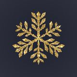 Gouden sneeuwvlok op donkere achtergrond De Kerstmissneeuw met schittert textuur Kerstmis Vectorillustratie Royalty-vrije Stock Foto