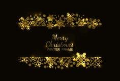 Gouden sneeuwvlokkader, zwarte achtergrond, Kerstmisontwerp stock illustratie