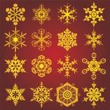 Gouden sneeuwvlokken Royalty-vrije Stock Fotografie