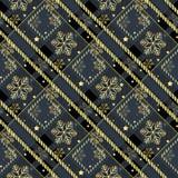 Gouden sneeuwvlokken naadloos op de donkere van het de textuur diagonale patroon van de geruit Schots wollen stofstof naadloze ve royalty-vrije illustratie