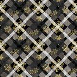 Gouden sneeuwvlokken naadloos op de donkere van het de textuur diagonale patroon van de geruit Schots wollen stofstof naadloze ve stock illustratie