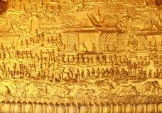 Gouden Snijdende Muur van Tempel - Luang Prabang, Laos Stock Afbeelding