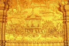 Gouden Snijdende Muur van Tempel - Luang Prabang, Laos Stock Afbeeldingen