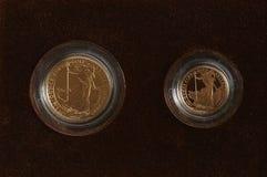 Gouden Soevereine en halve Soeverein Stock Foto