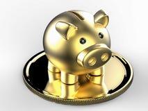 Gouden spaarvarken met gouden muntstuk Royalty-vrije Stock Afbeelding