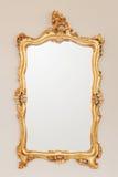 Gouden spiegelkader Stock Foto