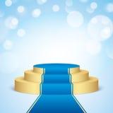 Gouden stadium met blauw tapijt Stock Afbeeldingen