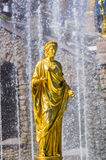 Gouden standbeeld in Peterhof Royalty-vrije Stock Foto's