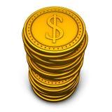 Gouden stapel van muntstukken Stock Afbeeldingen