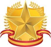 Gouden Ster met Kroon en Schild Stock Afbeelding