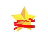 Gouden ster met rood lint Stock Foto