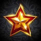 Gouden ster op een donkere achtergrond Stock Afbeeldingen